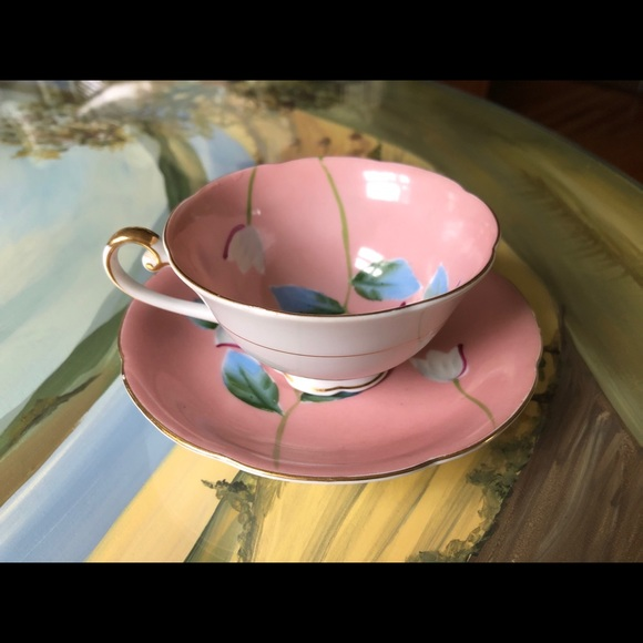 Hand Painted Pink Teacup & Saucer Floral